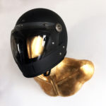 GOLD BURT HELMET HOLDER WITH CARBON FULLFACE VELDT HELMET 02