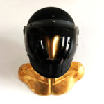 GOLD BURT HELMET HOLDER WITH CARBON FULLFACE VELDT HELMET FACE 01